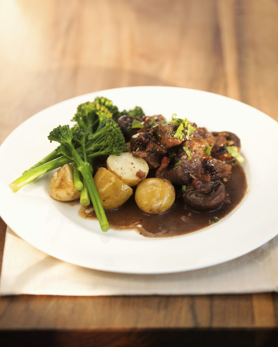 beef, potatoes, and red wine sauce