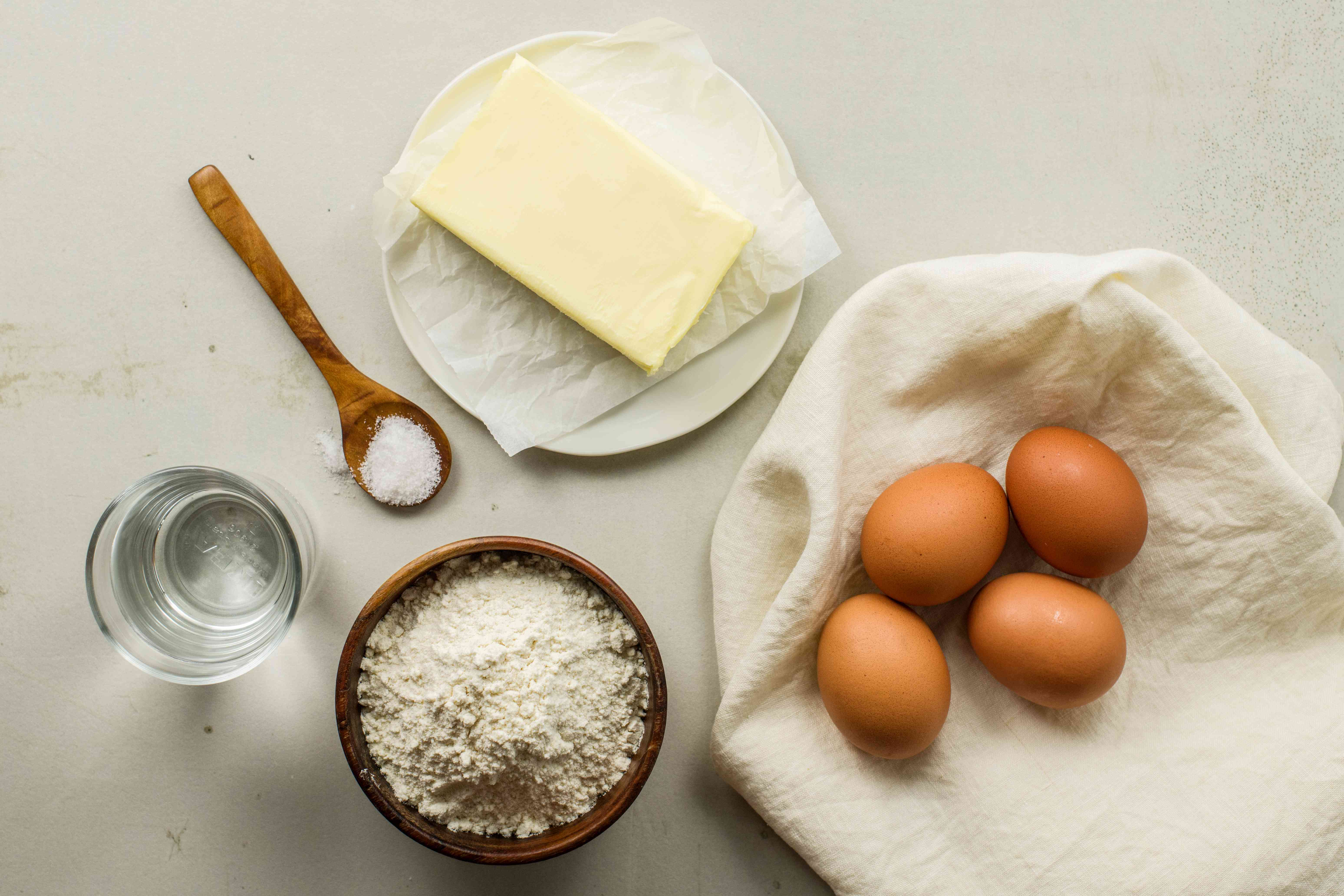 Ingredients for choux dough