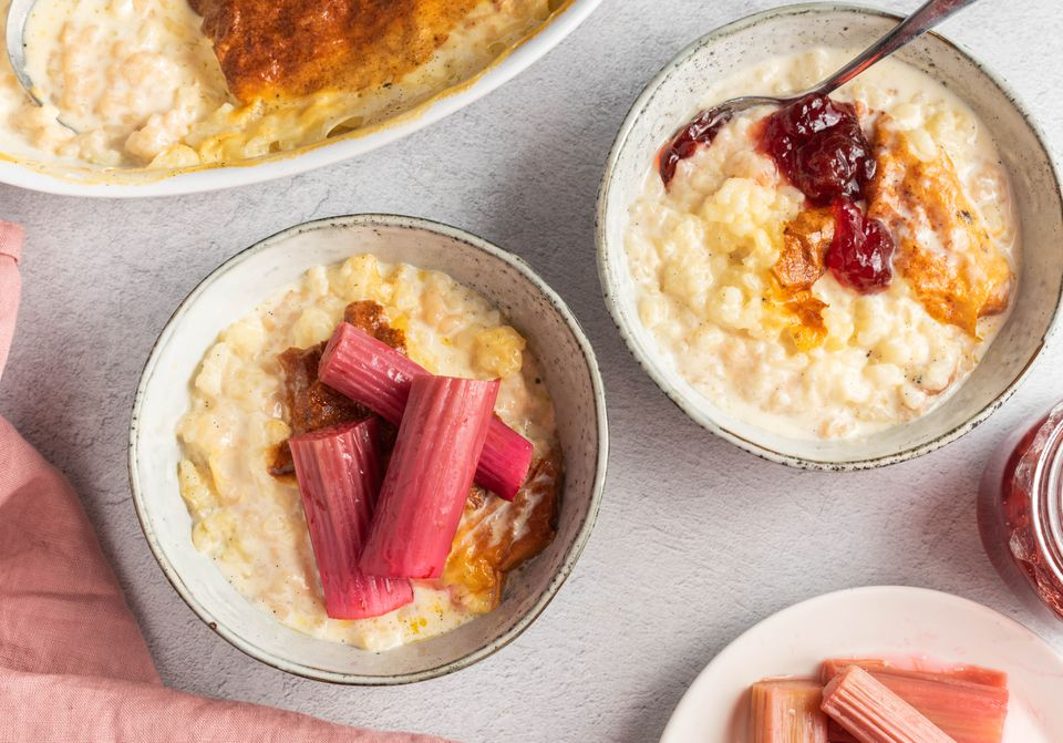 Traditional British rice pudding with a choice of roasted rhubarb or homemade jam toppings