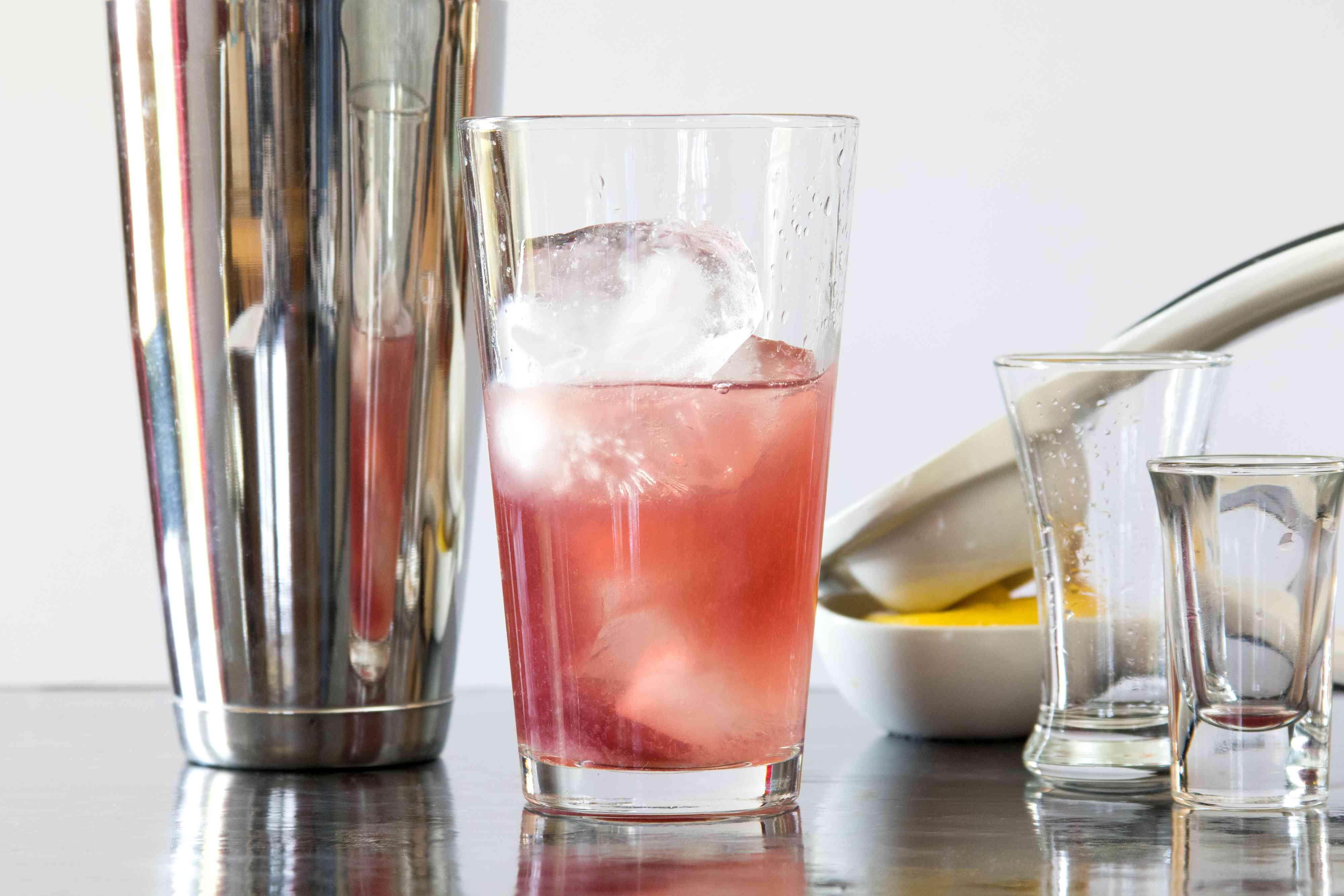 Mixing a Pomegranate Martini