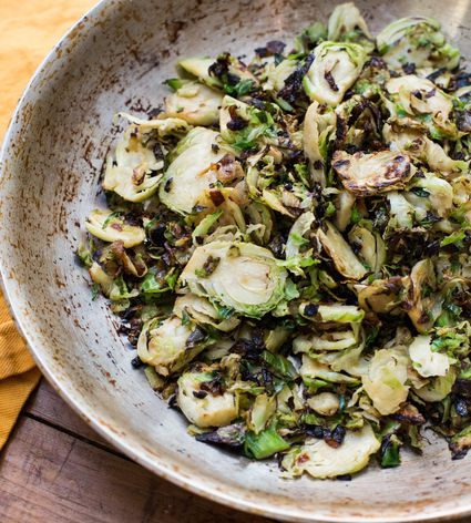 Simple sautéed Brussels sprouts and onions in a bowl