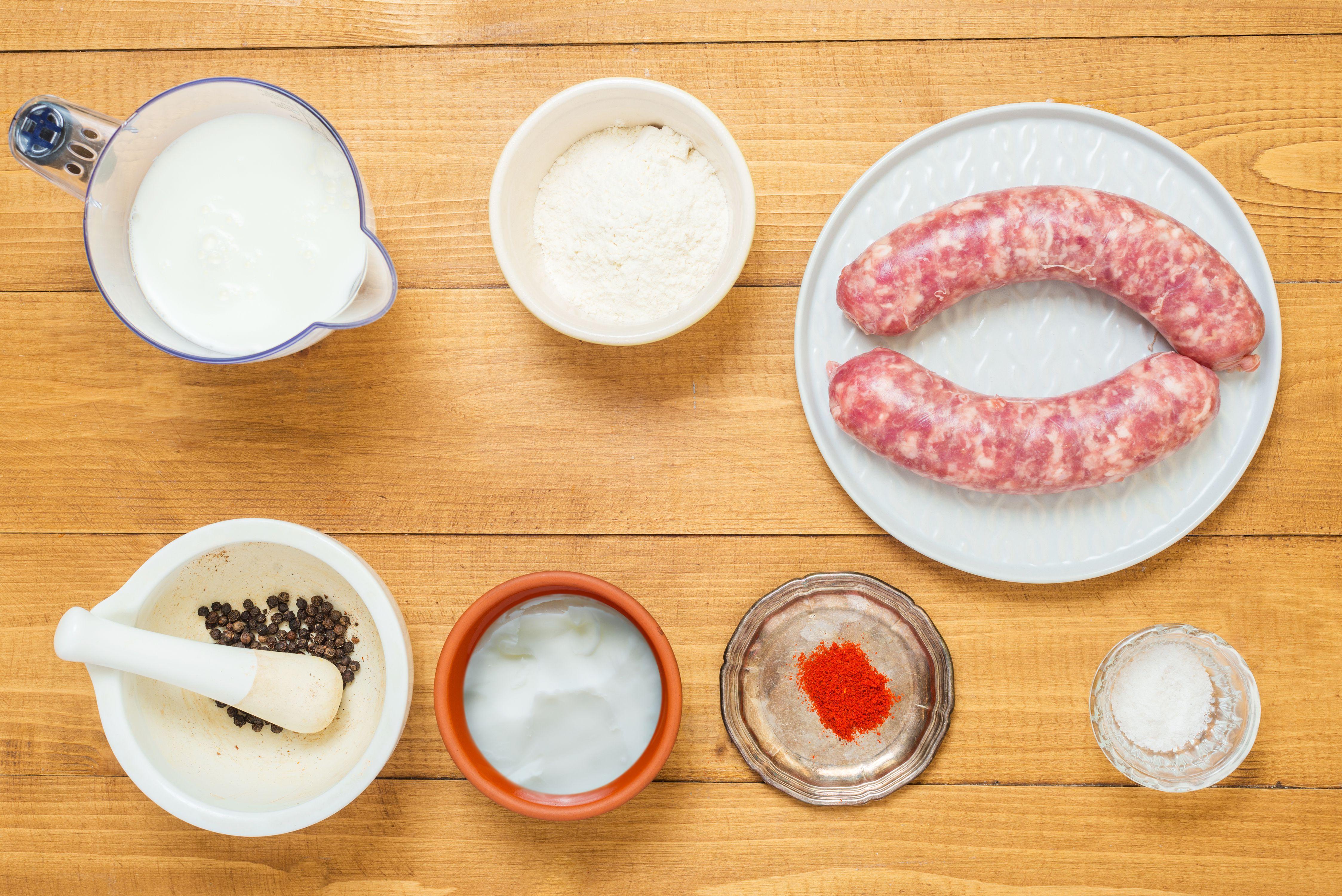Homemade southern sausage gravy ingredients.