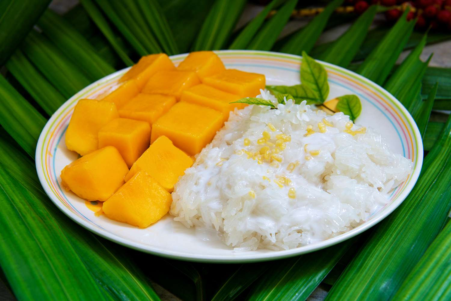 Famous Thai dessert: mango with sticky rice and coconut milk