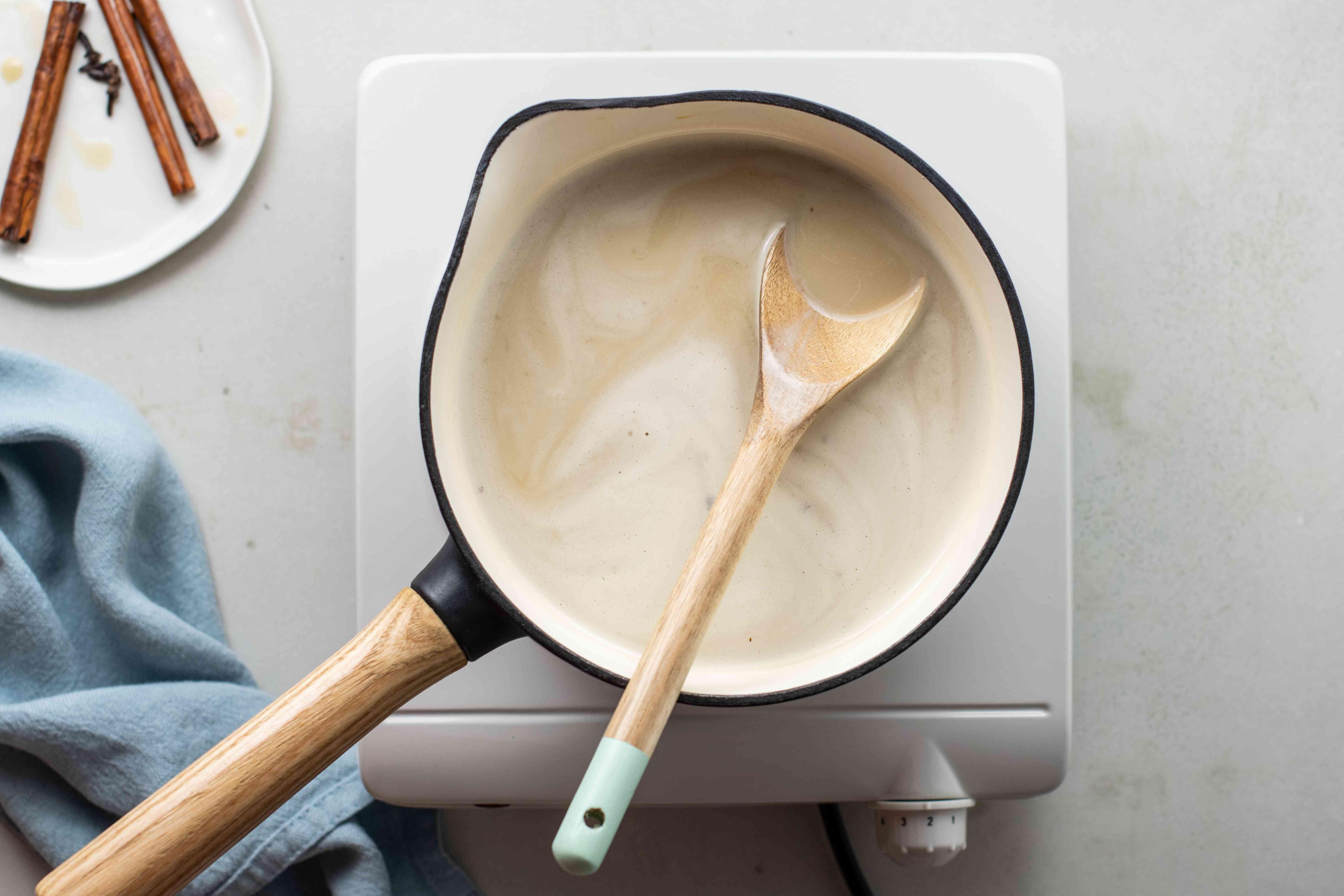 Heat sugar milk mixture