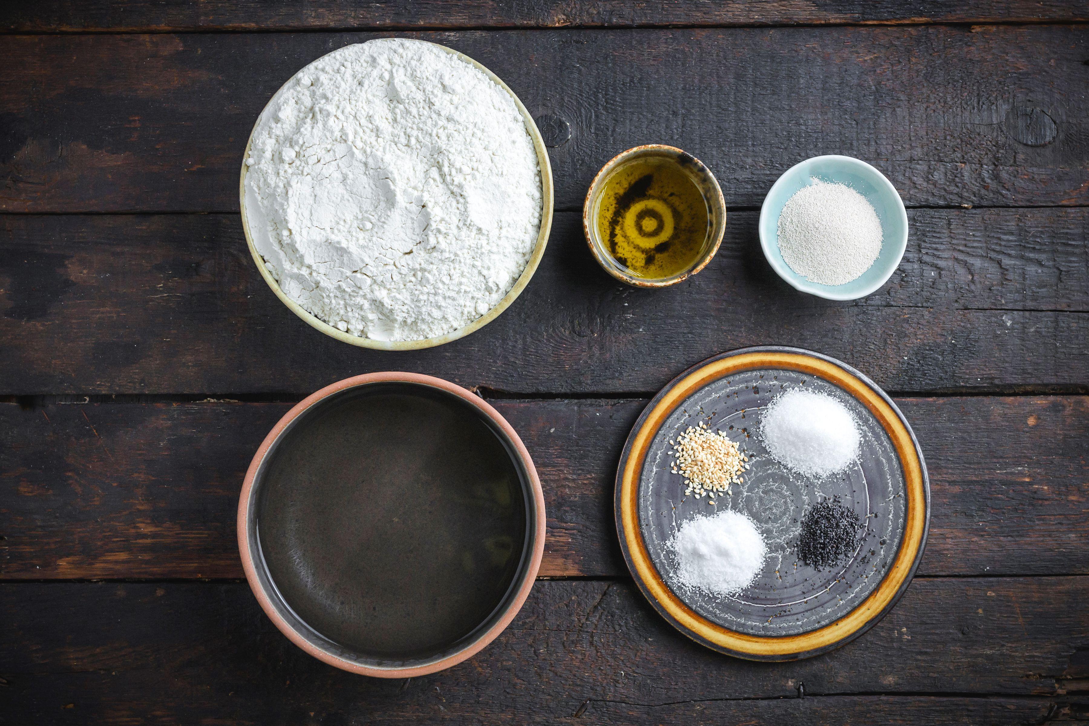 Ingredients for lavash flatbread