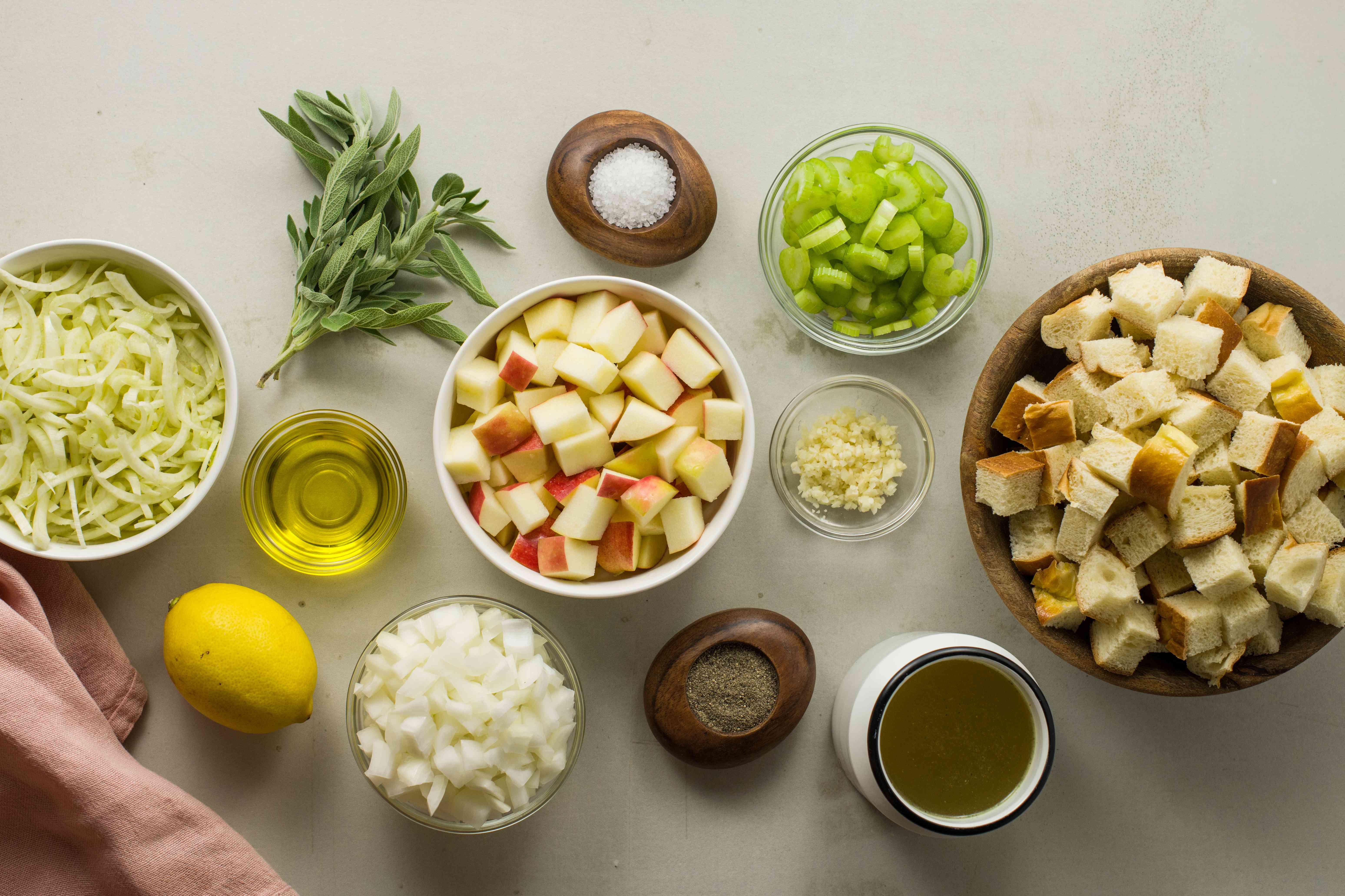 Ingredients for apple and fennel challah stuffing