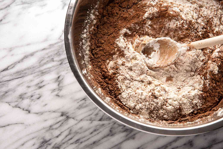 Stir in dry ingredients into wet mixture