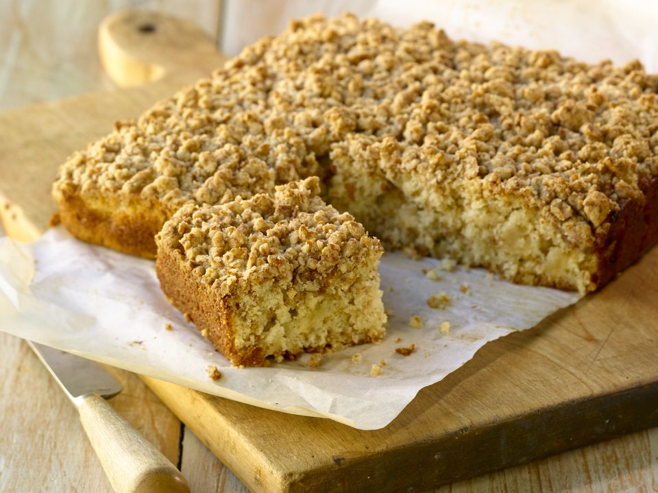 Coffee cake on a cutting board