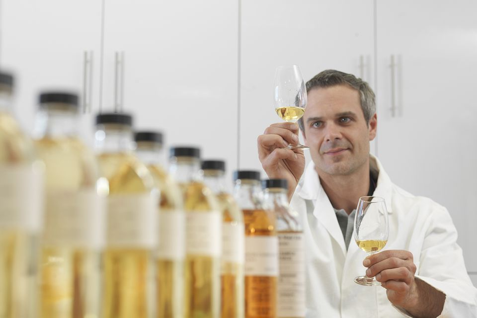 Whiskey is carefully tested for quality and alcohol volume prior to bottling.