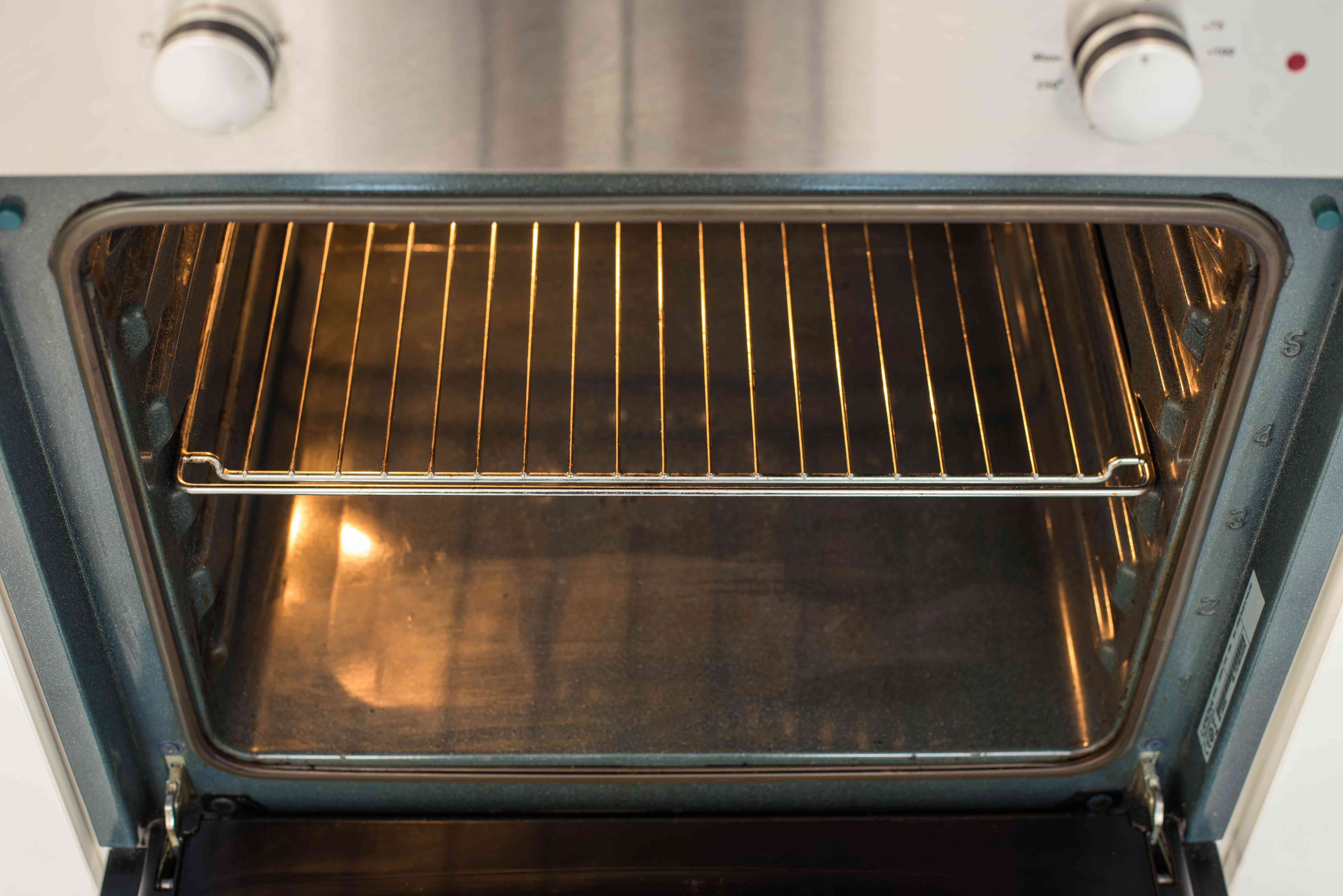 Place rack in oven