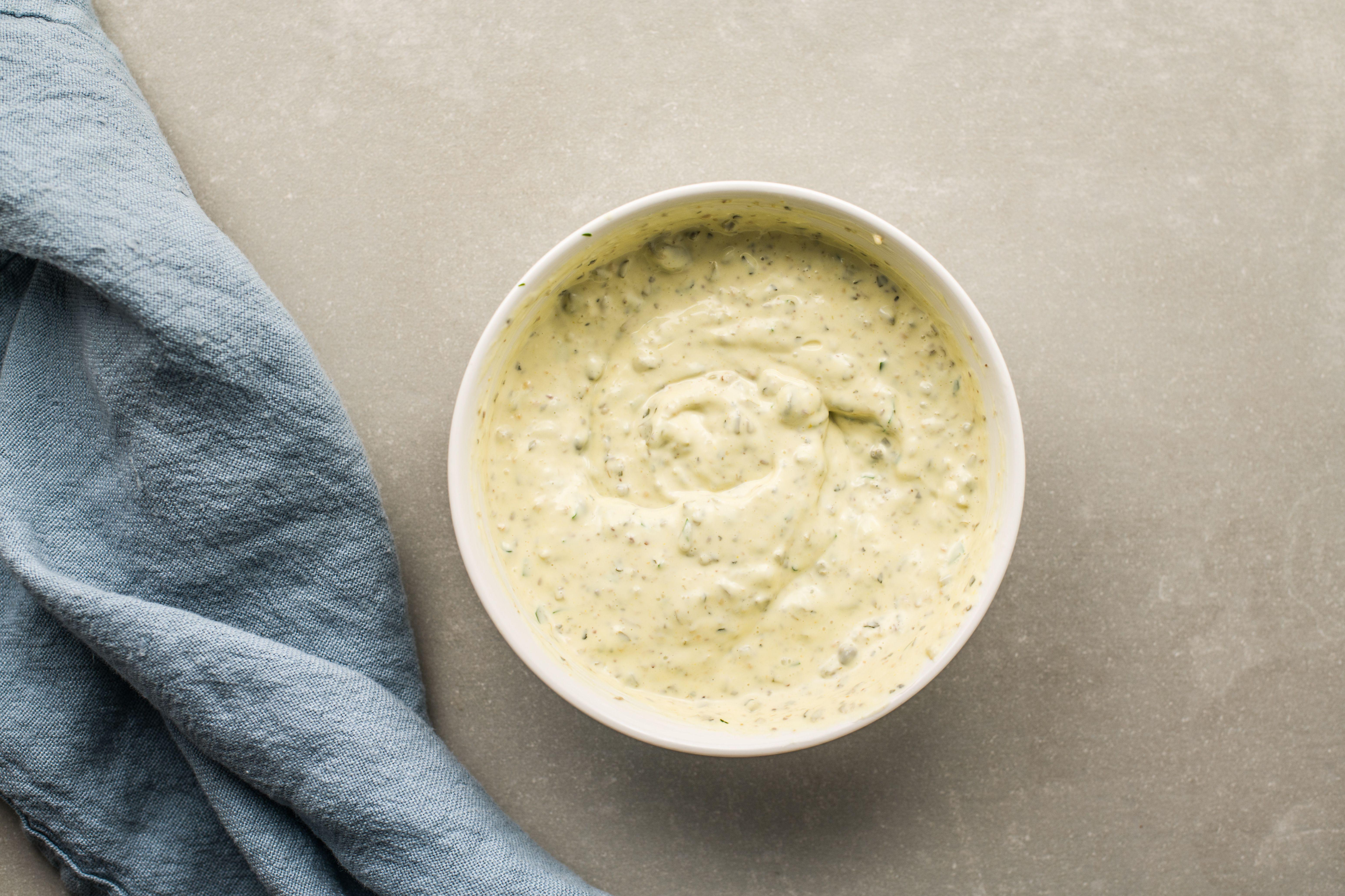 Combine mayo and cornichon