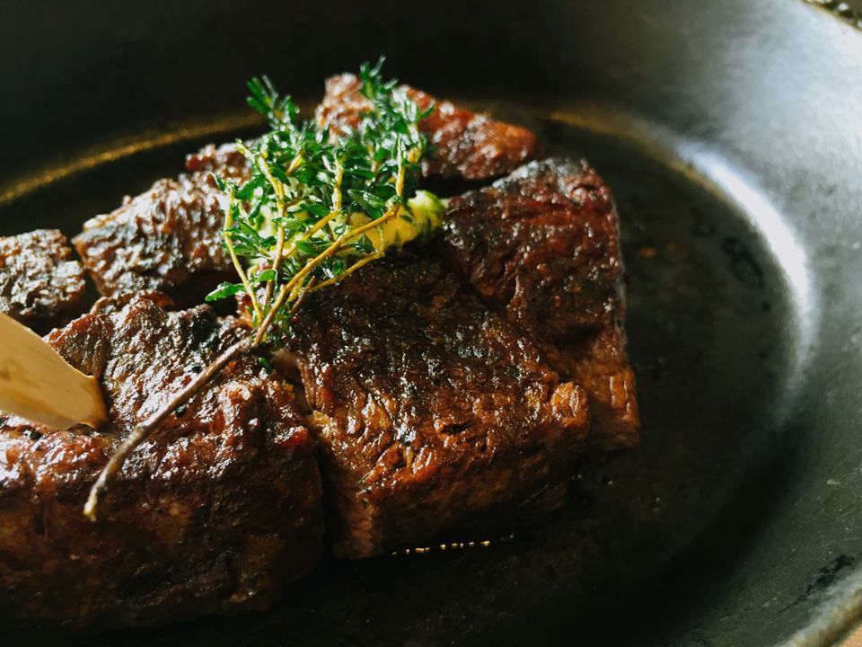 High Angle View Of Steak Served In Plate