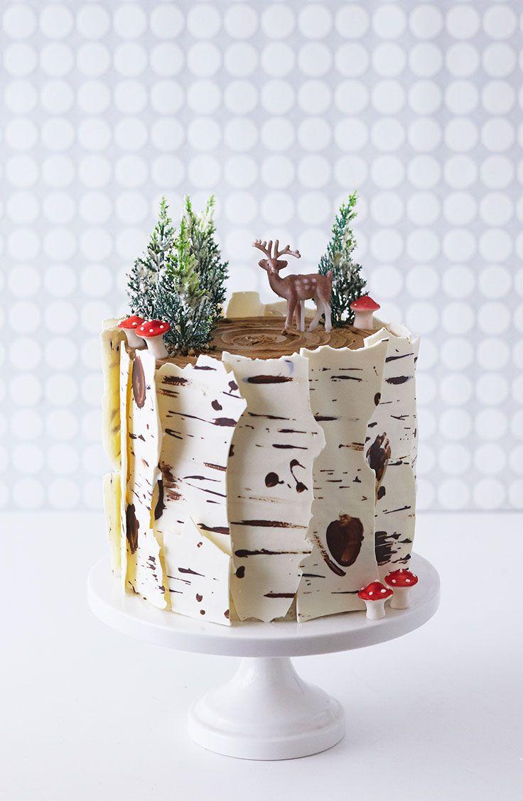Winter Birch Tree Cake