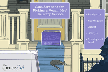 Illustration of a veggie box on a stoop explaining what to consider when picking a vegan meal delivery service.