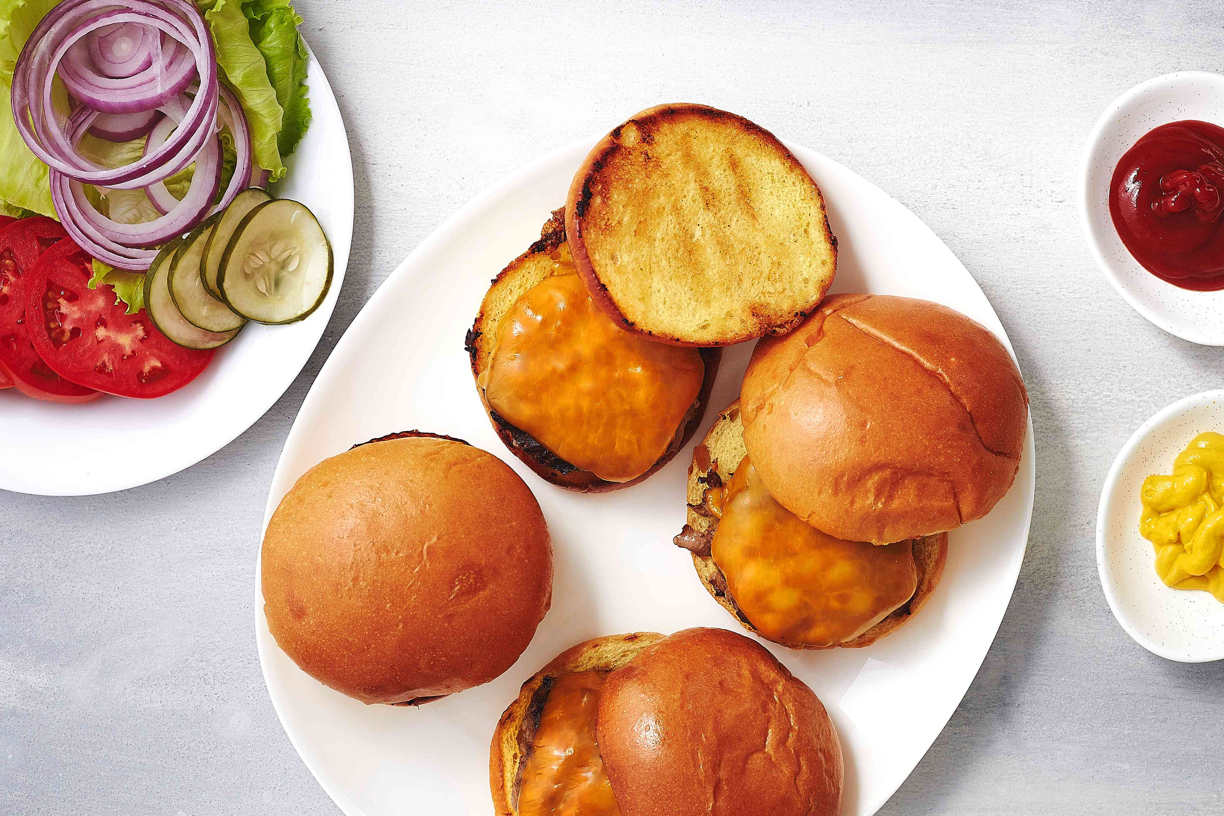 Indoor-Grilled Burgers on a plate