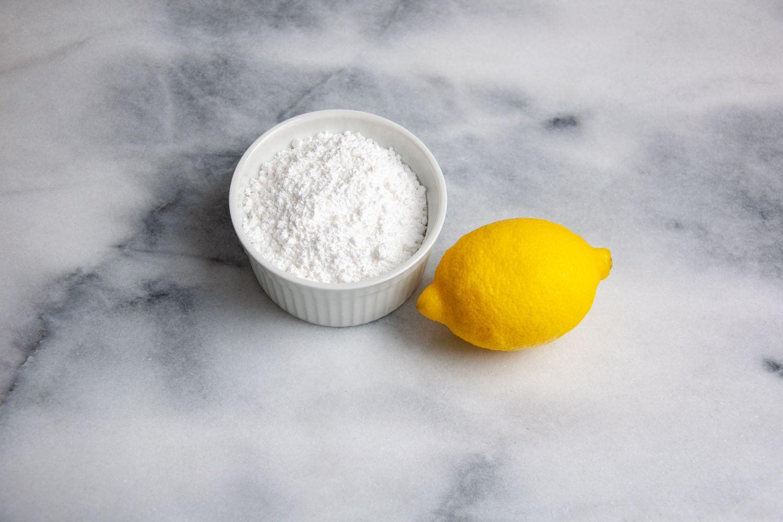 Moroccan Lemon Cake glaze ingredients, lemon and confectioners' sugar