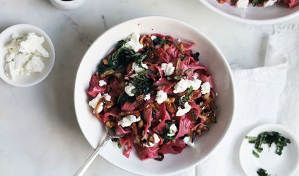 beet pasta with crispy shallots and goat cheese