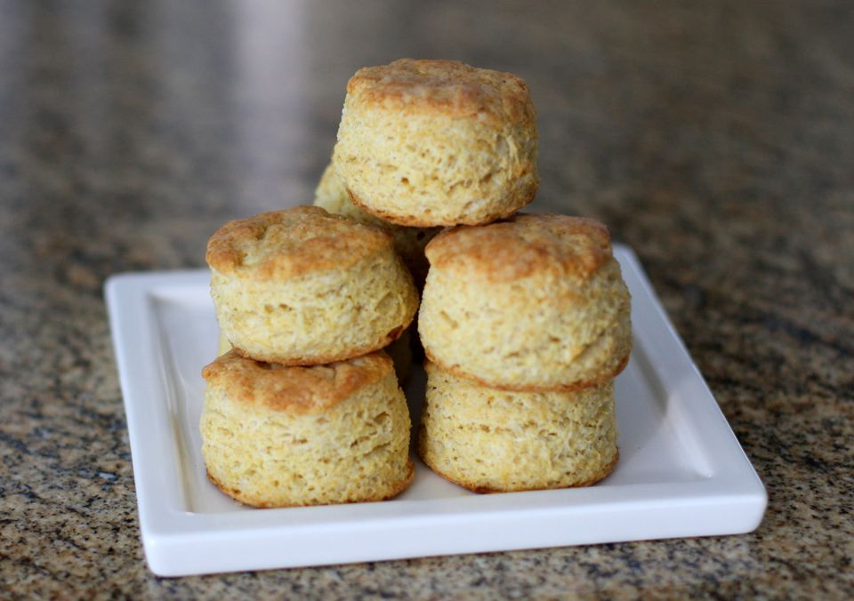 Stacked cornmeal biscuits