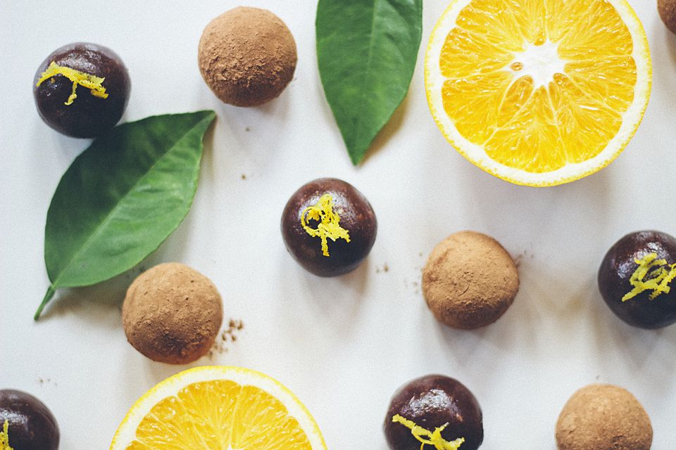 Zest-covered chocolate truffles