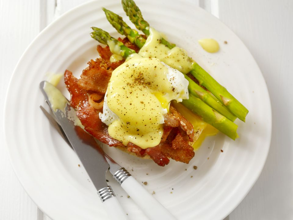 Asparagus, cheese, bacon and a poached egg