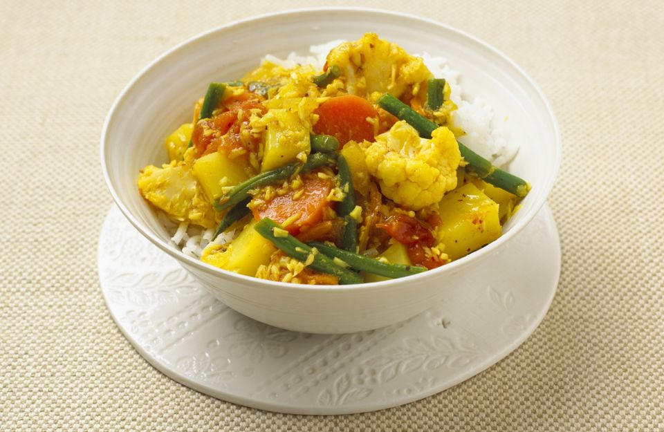 Healthy veggies simmered in a simple coconut milk curry