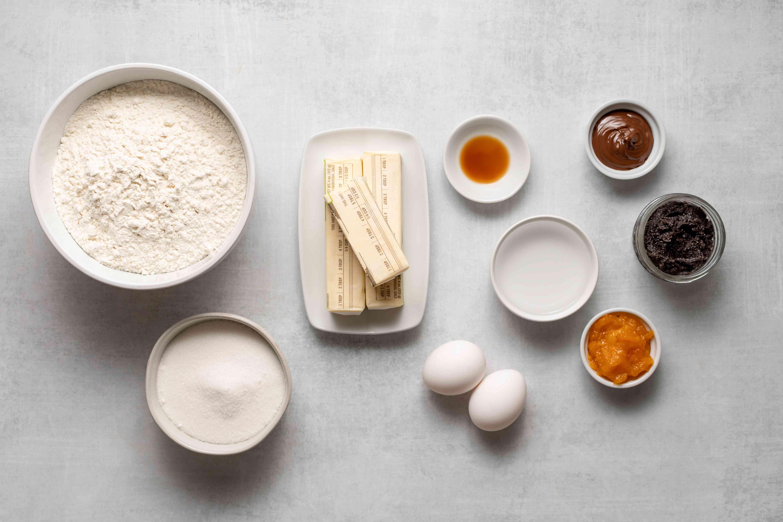Ingredients for Jewish Hamantaschen Cookies