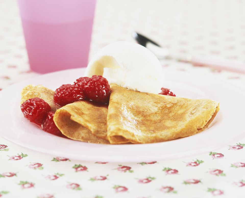 Raspberry Crepes With Ice Cream