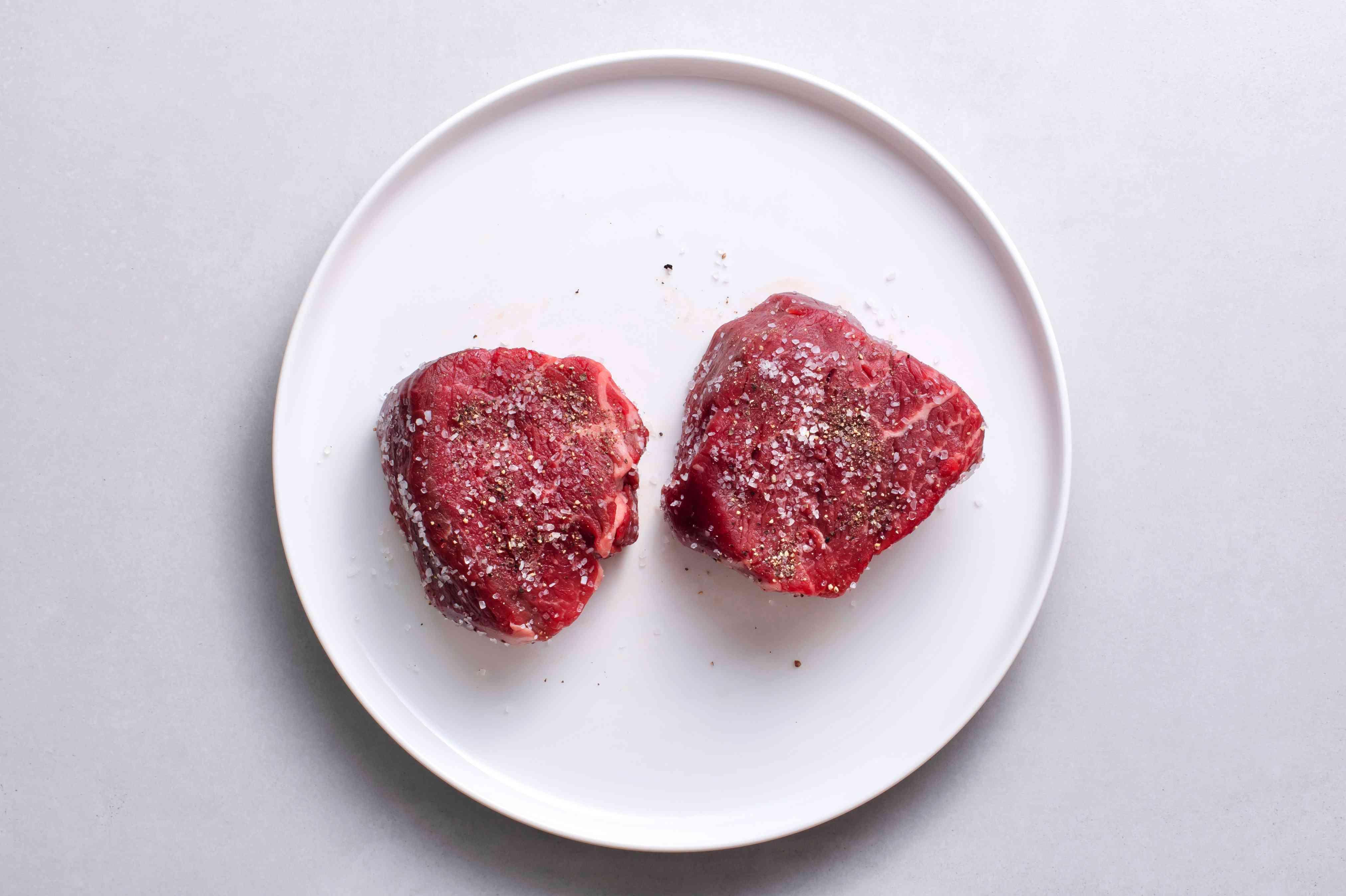 season steak with salt and pepper