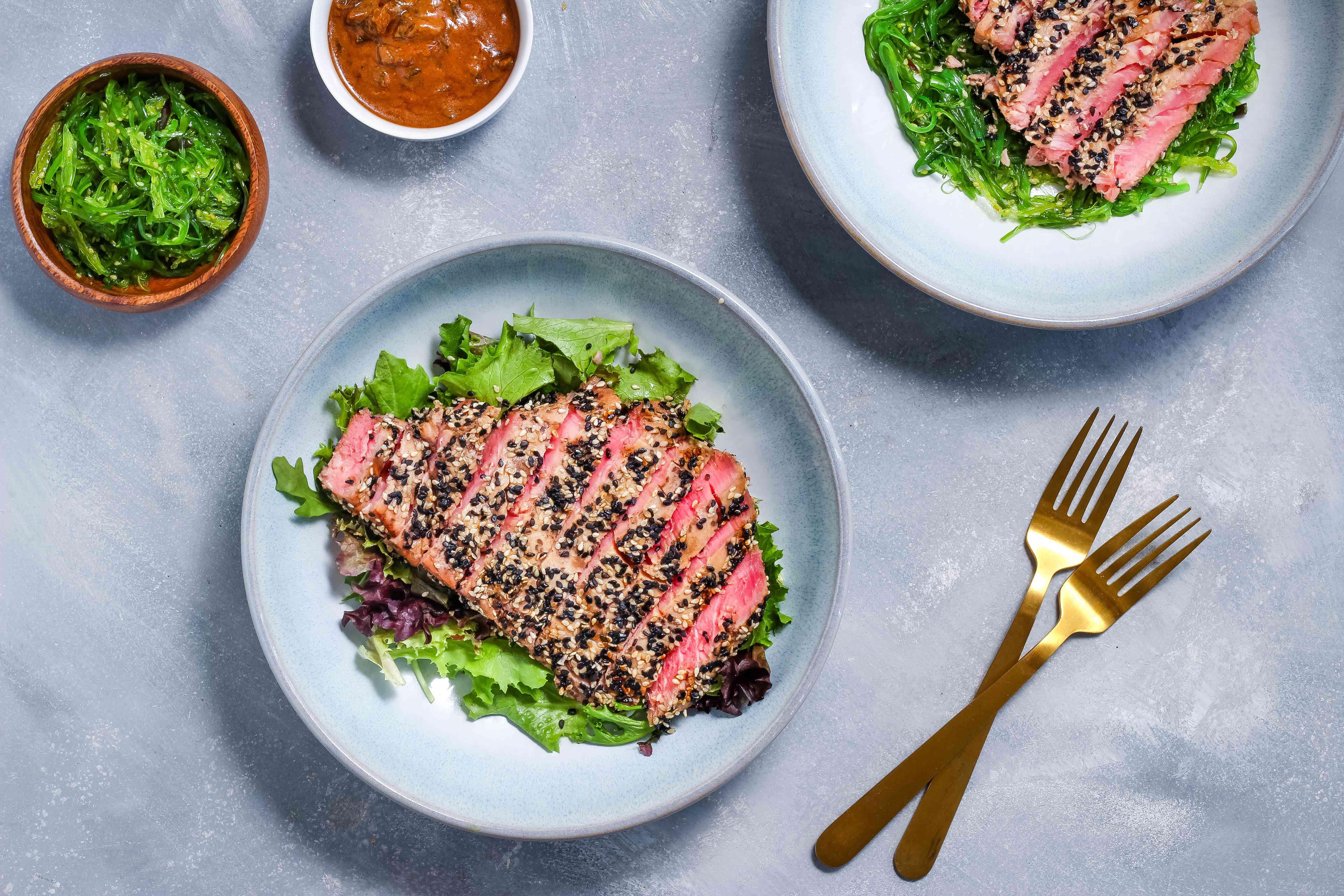 Grilled tuna steaks with Asian sesame crust recipe