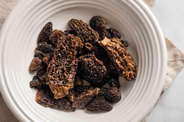 Sautéed Morel Mushrooms in a bowl