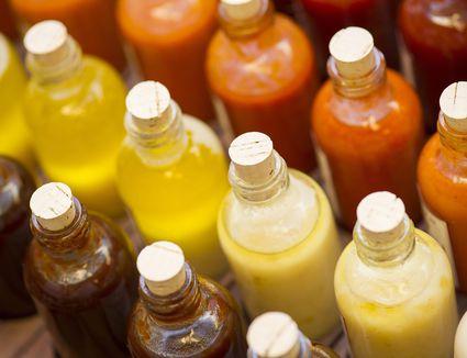 Bottles of sauce