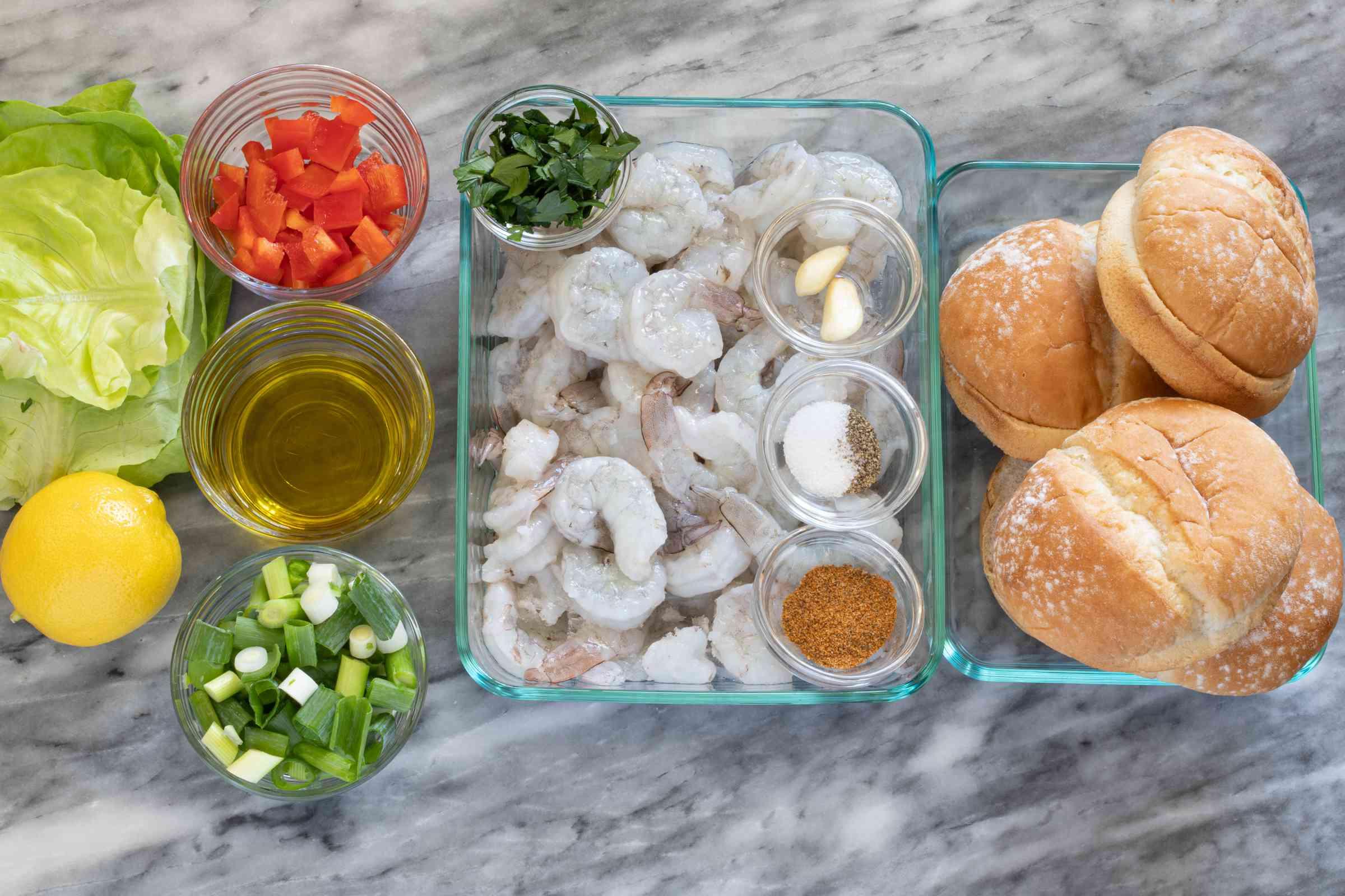 Ingredients for shrimp burgers.