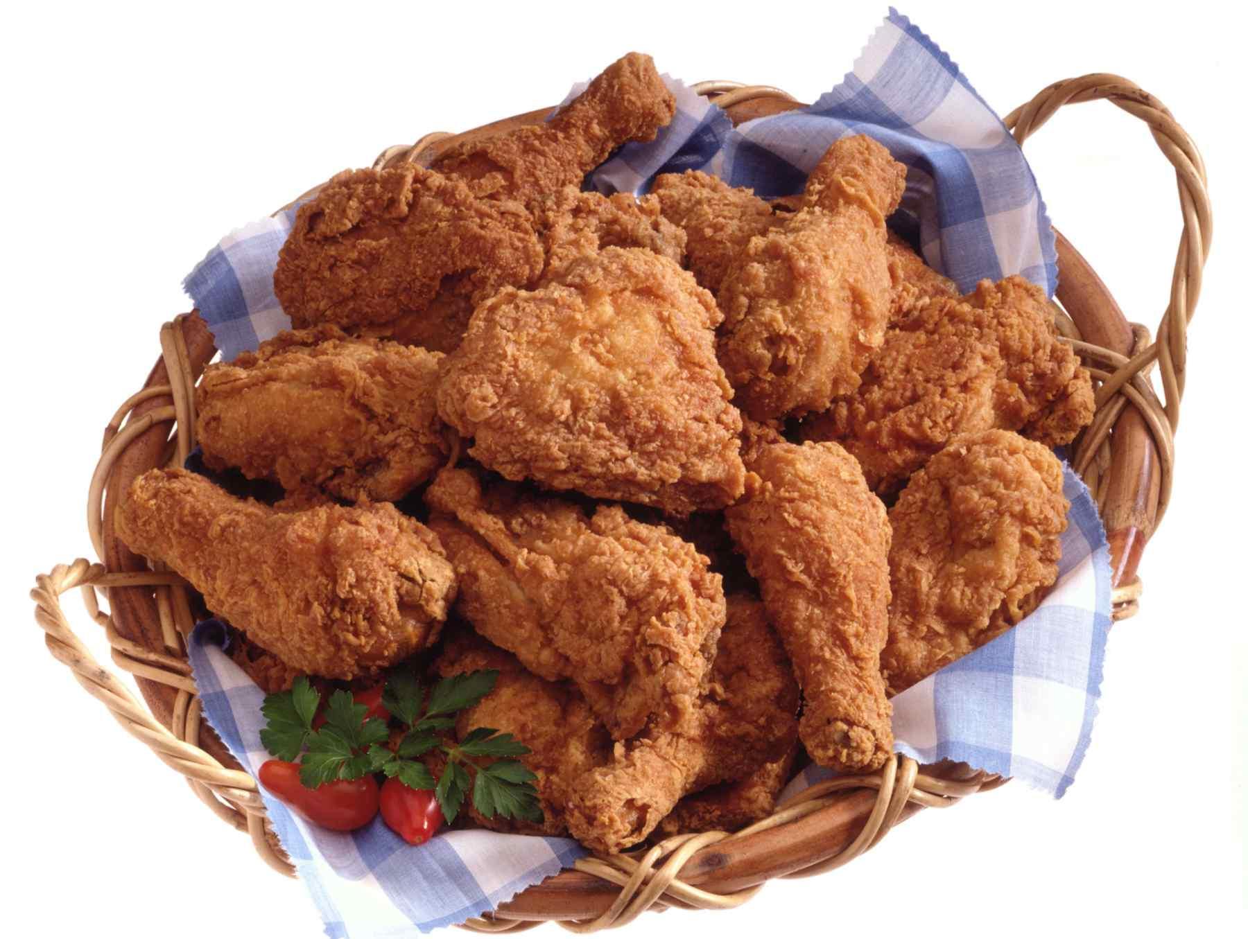 Fried chicken legs in a basket