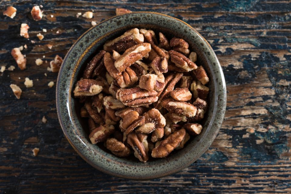 High Angle View Of Pecans In Bowl On Table