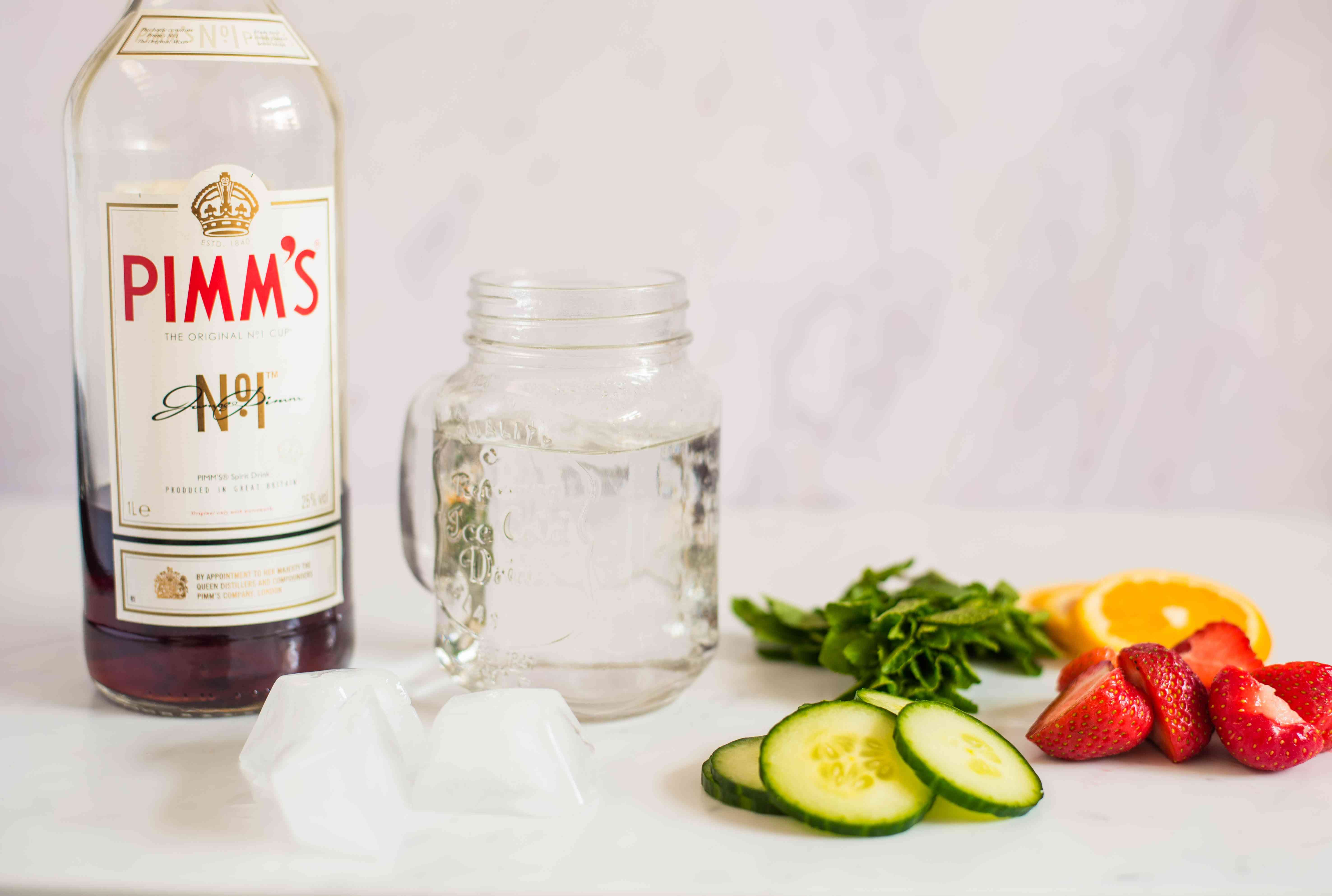 Ingredients for making Pimm's and lemonade