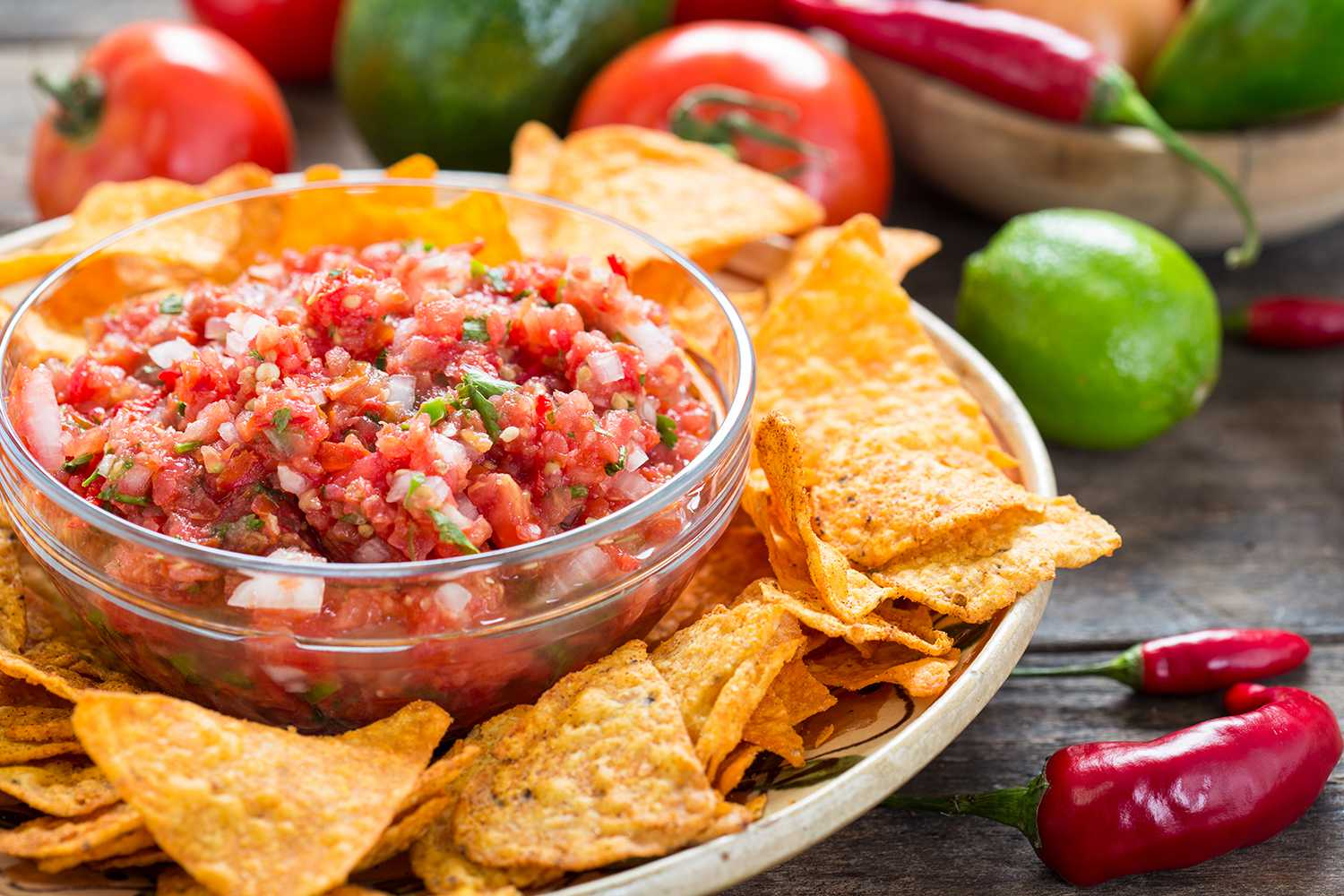 Salsa dip with tortilla chip