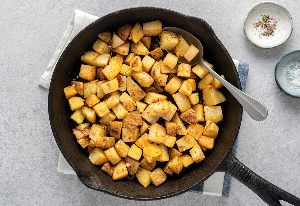 Country Fried Potatoes recipe in a cast iron skillet