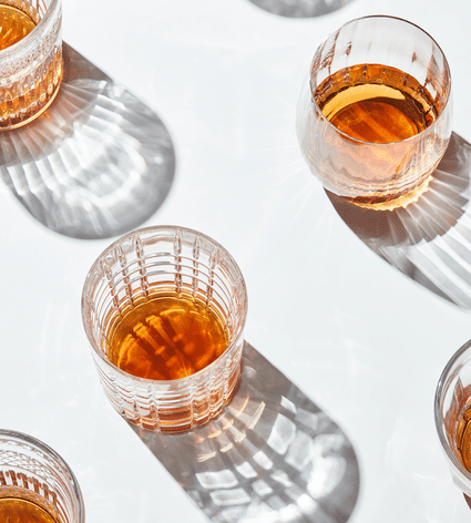 top view of glasses of scotch
