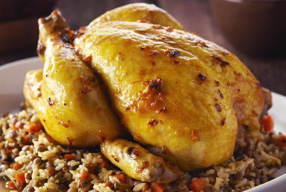 Pollo asado relleno al estilo indio
