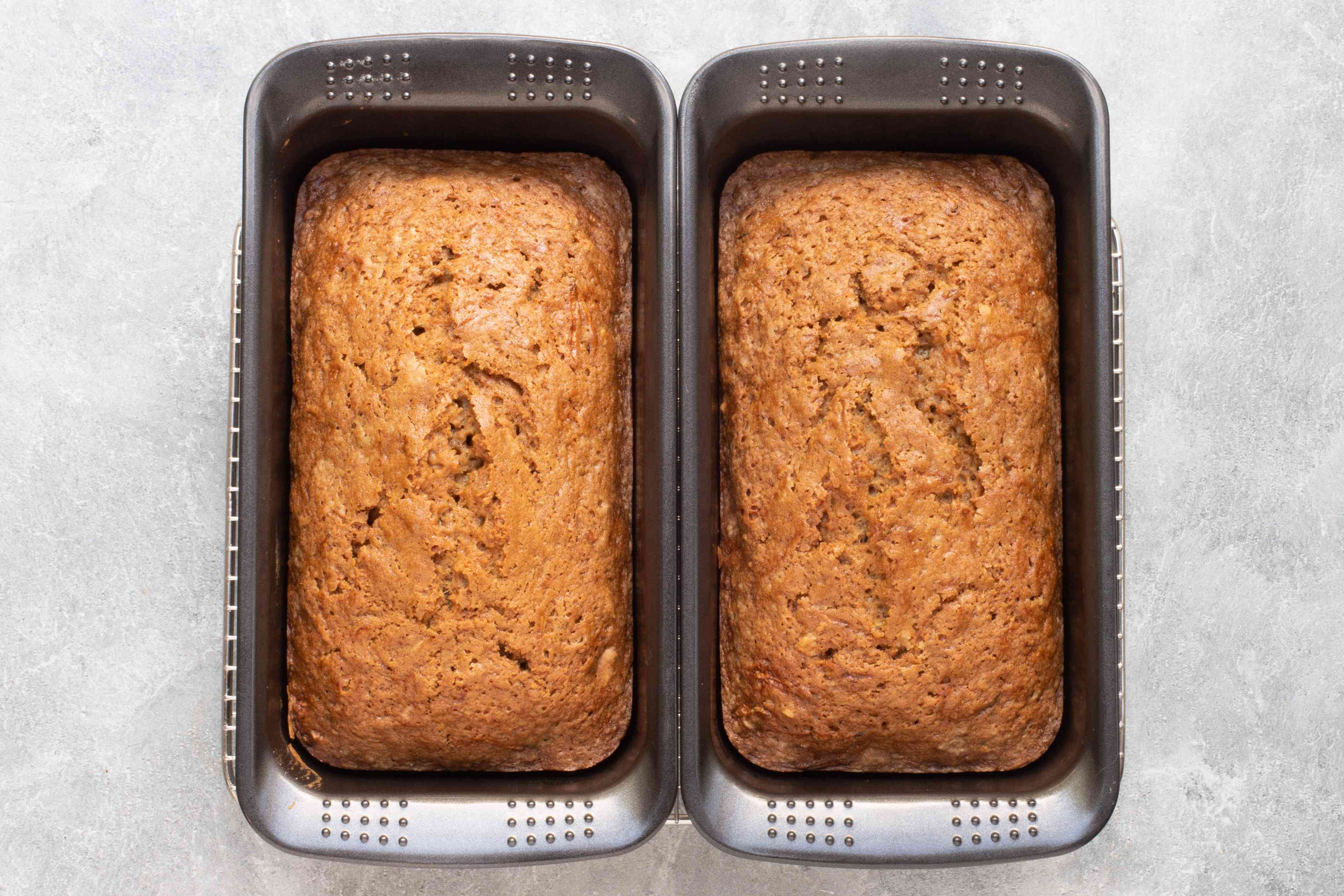 baked zucchini bread on a cooling rack