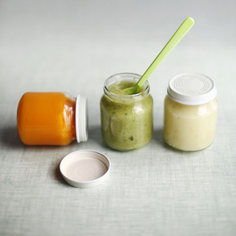 Homemade baby food in jars