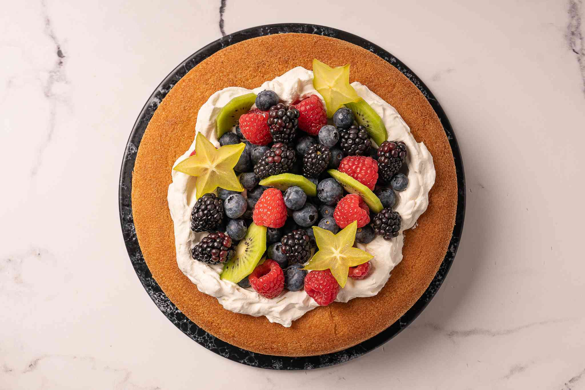 Savarin topped with fruit
