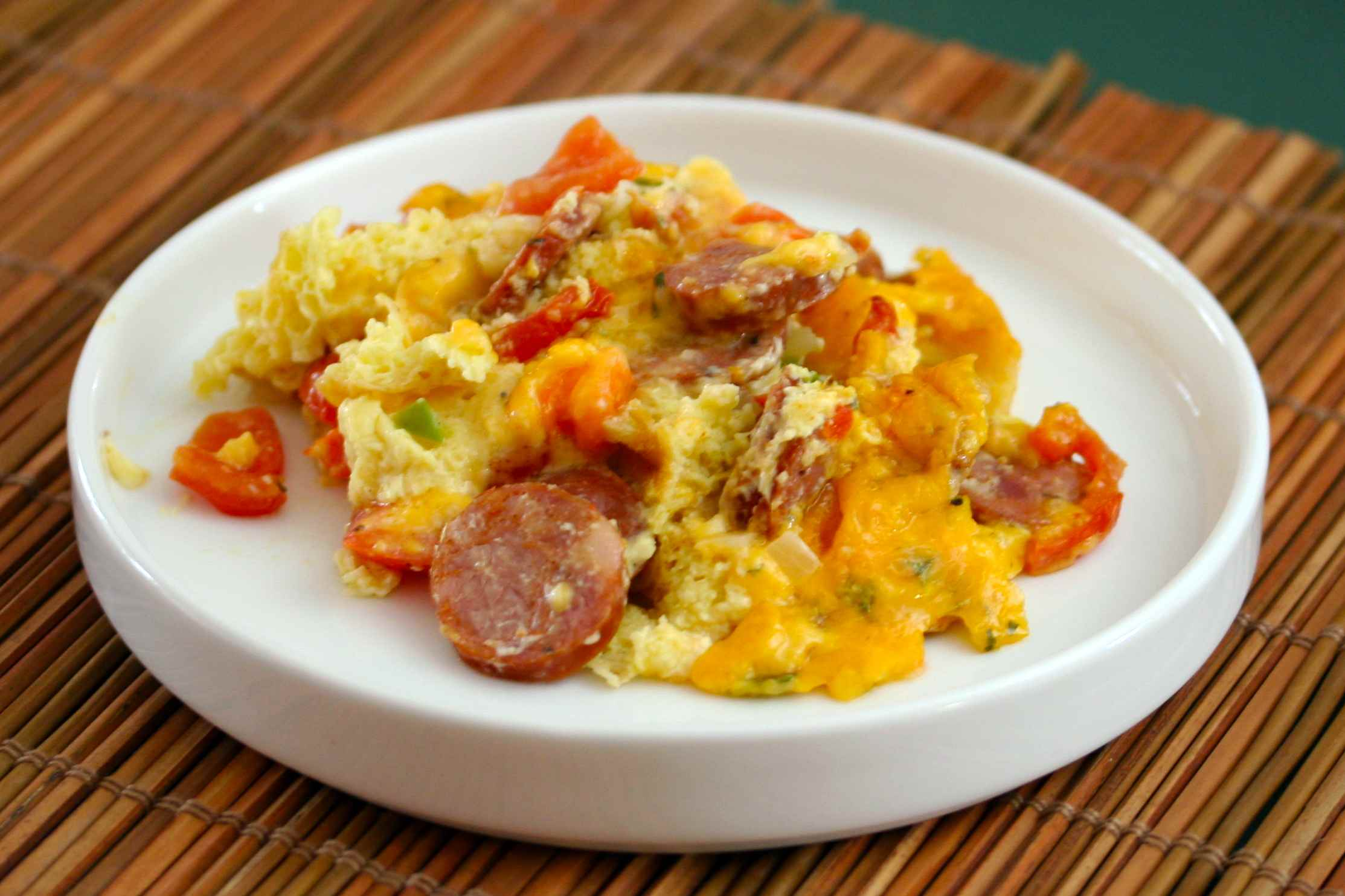 Egg casserole with andouille sausage