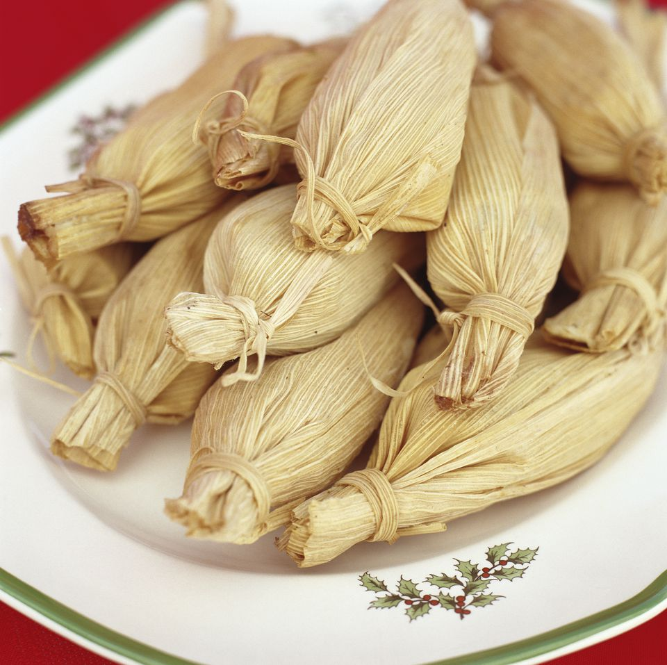 tamales on Christmas platter