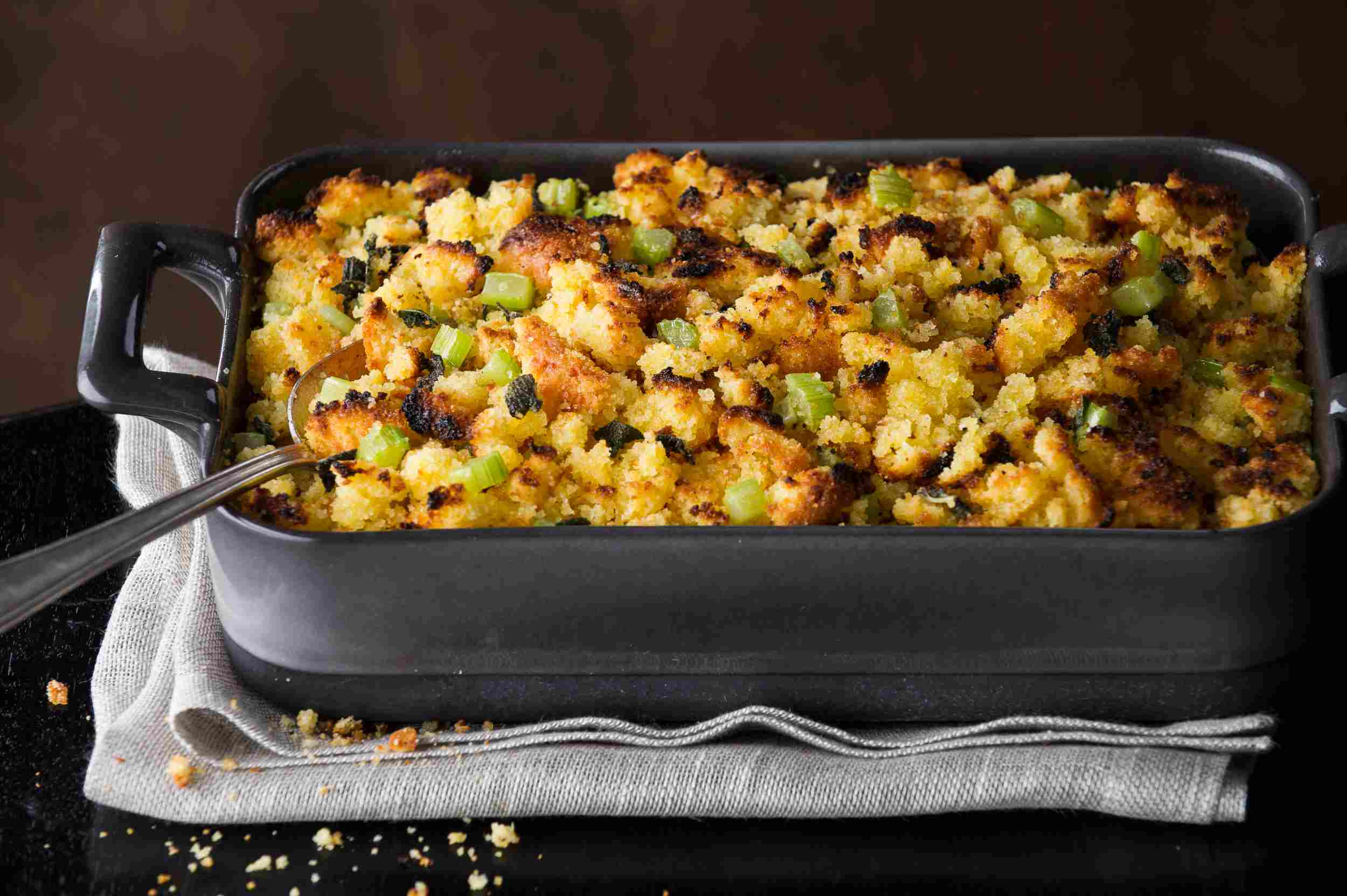 A dish of Thanksgiving stuffing