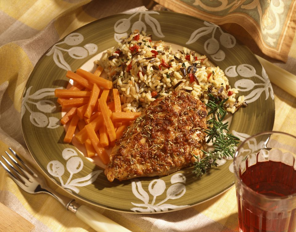 Rosemary chicken with wild rice and carrots