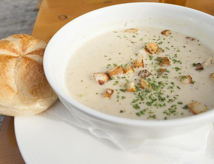 Creamy chicken soup with croutons