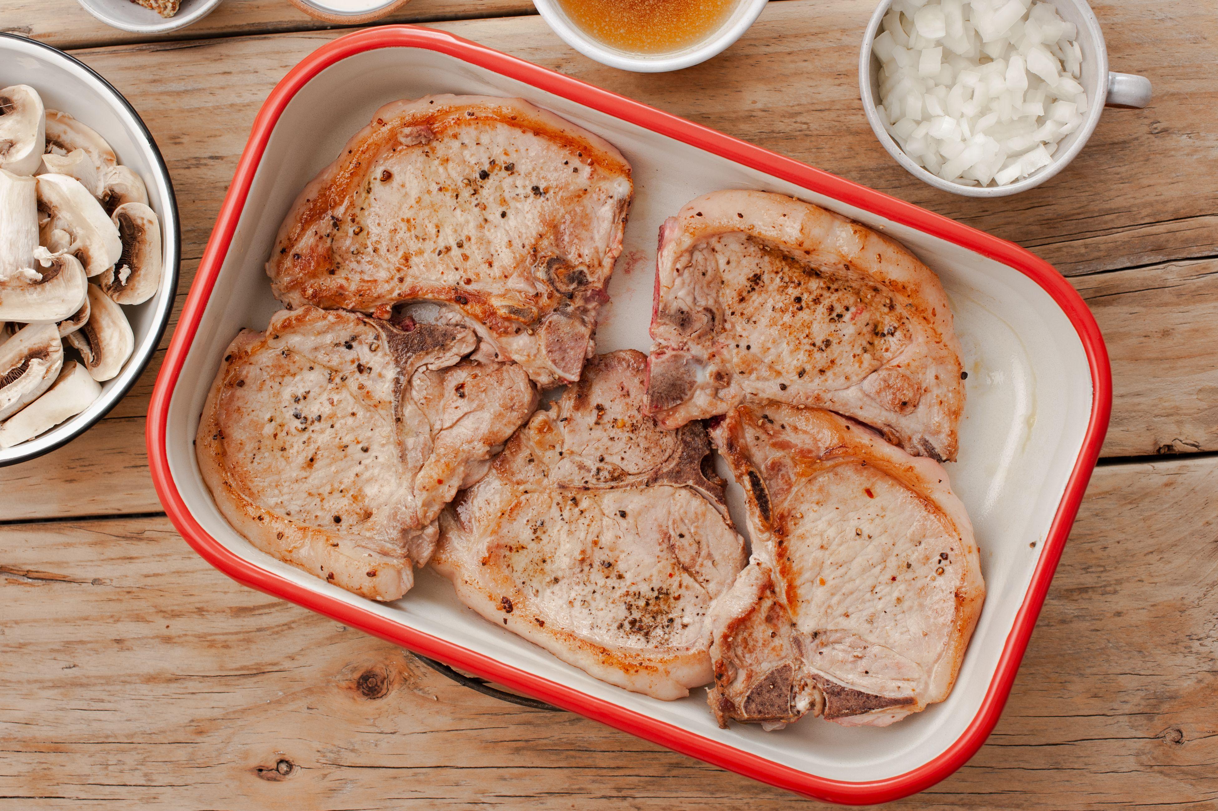 Pork chops in a dish