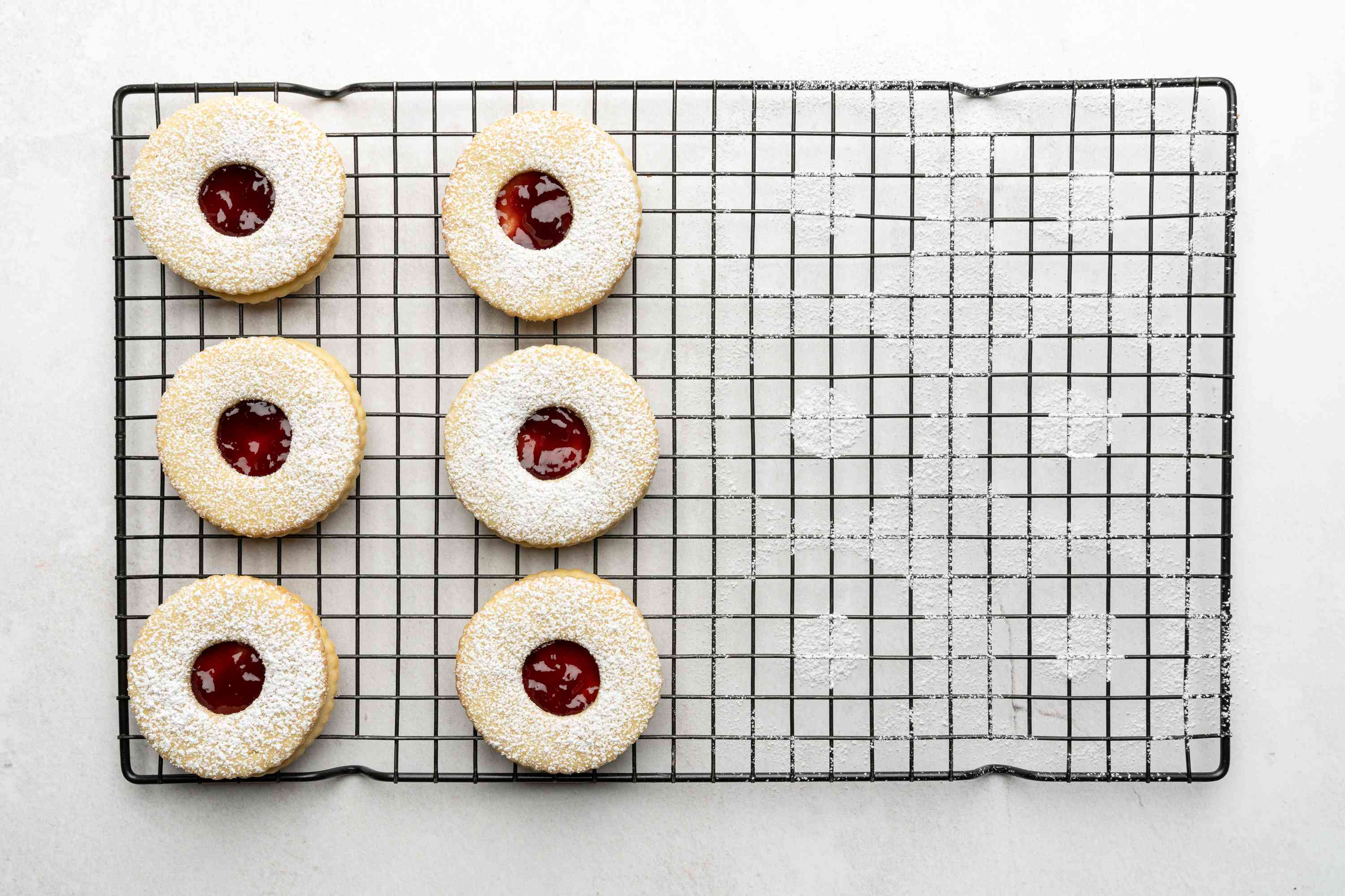 Austrian Linzer Cookie on a cooling rack