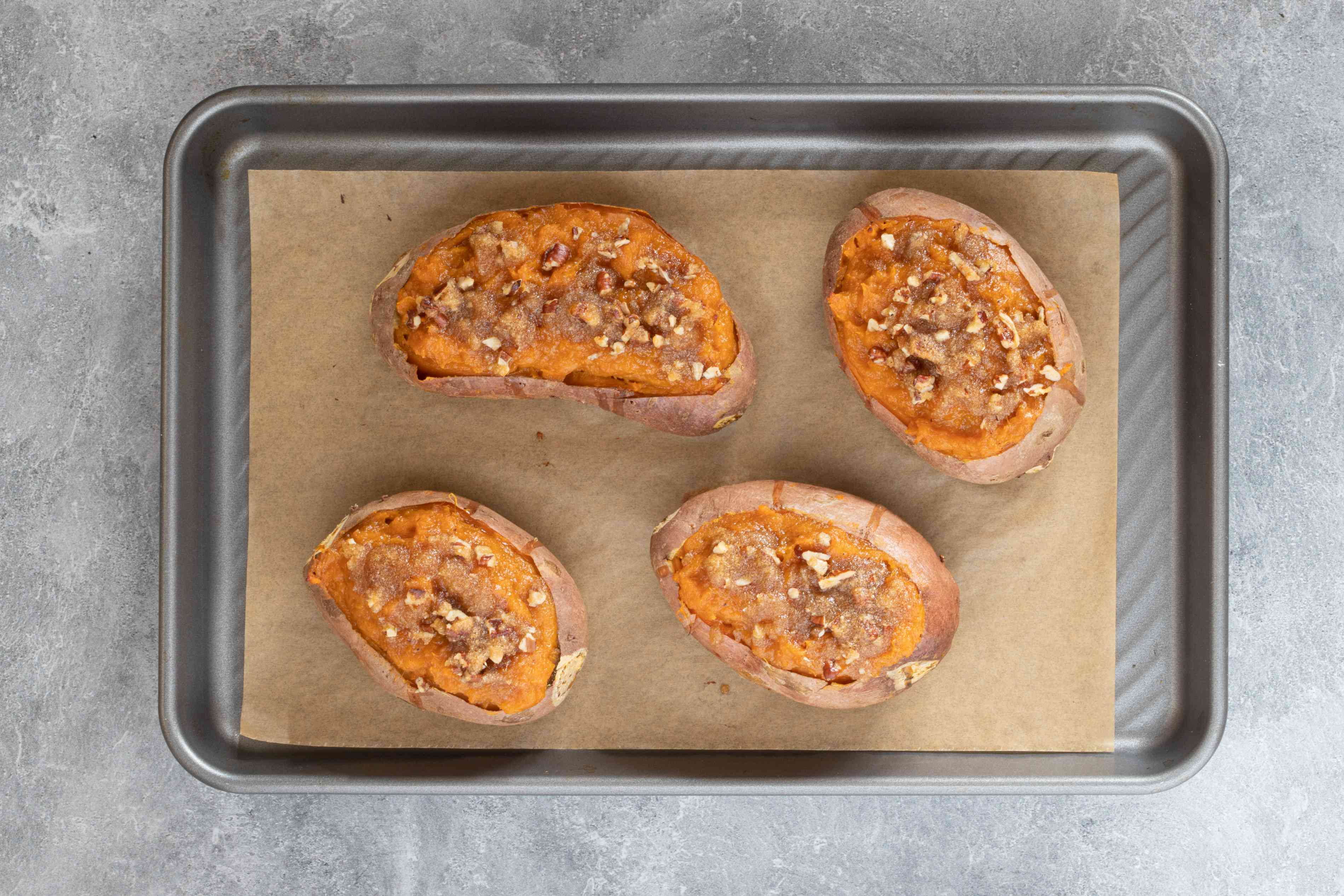 twice-baked sweet potatoes out of the oven
